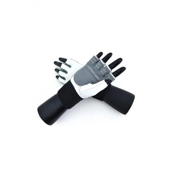 Перчатки для фитнеса с фиксатором мужские кожа белые Q10