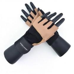 Перчатки для фитнеса с фиксатором мужские кожа коричневые Q11