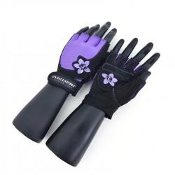 Перчатки для фитнеса женские замш черно-фиолетовые X11