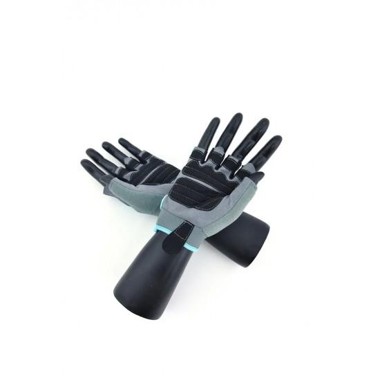Перчатки для фитнеса женские замш серо-голубые  X10